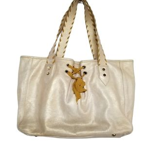 Tosca Blu Shimmery Gold Lace Up Tote Purse